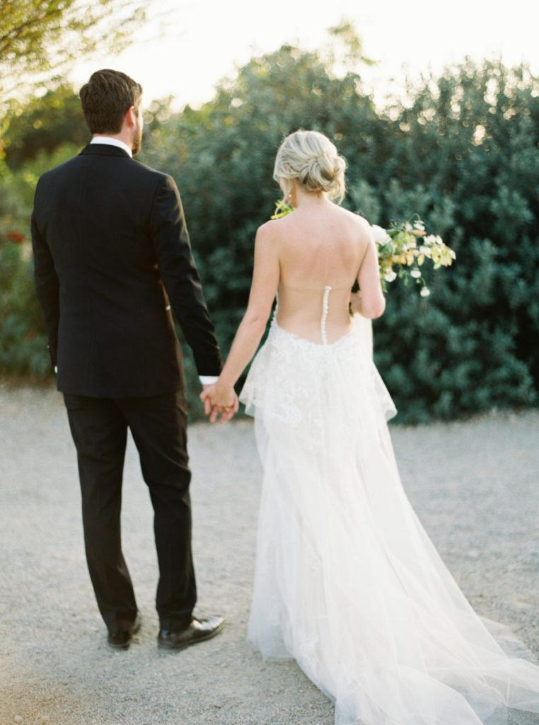 Glowing Ojai, California bride with natural hair and makeup