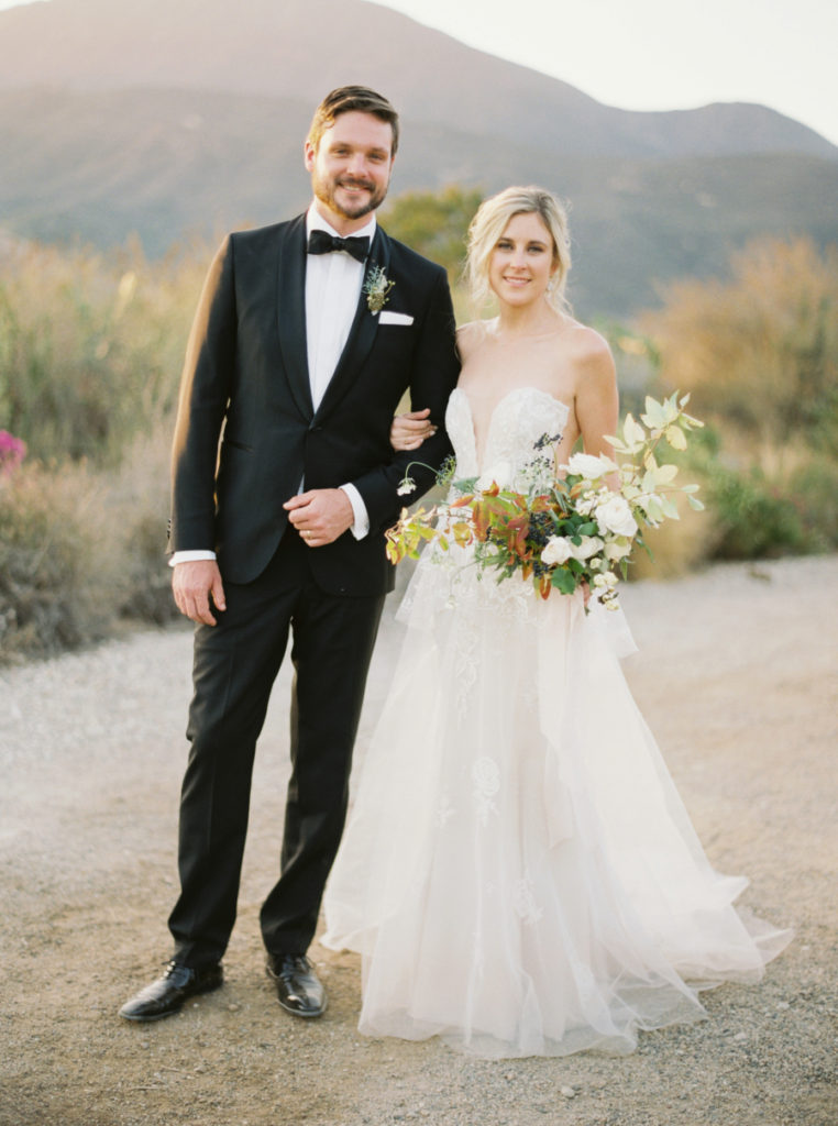 Glowing Ojai, California bride with natural hair and makeup