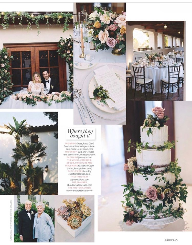 Santa Barbara, California wedding Bride's magazine feature - TEAM Hair and Makeup