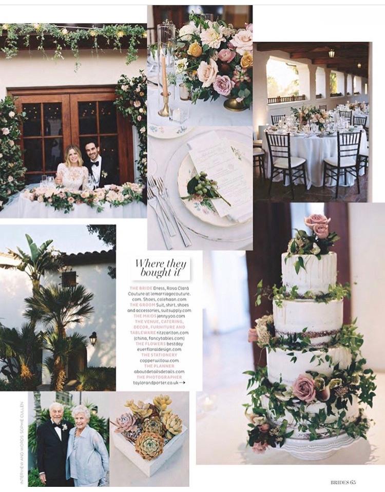 Santa Barbara, California wedding Bride's magazine feature - TEAM Hair and Makeup