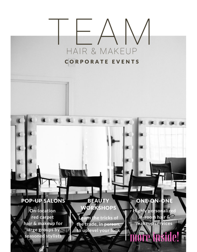 TEAM Hair & Makeup Pop-Up Salons and Beauty Workshops for Corporate Events